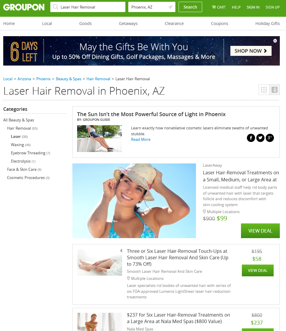 laser hair removal in Phoenix groupon